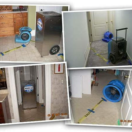 This image is actually a collage of pictures showing the cleaning process for water damage and restoration, on both tile and carpet surfaces.