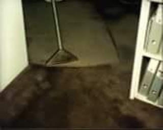 Picture of vacuum steam cleaner being used on carpet after flood damage. The difference in the carpet's color once cleaned is astounding.